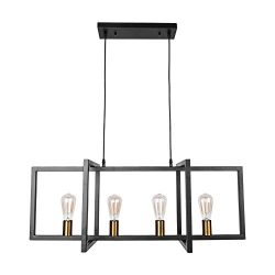Lingkai Kitchen Island Pendant Light Modern Chandelier 4-Light Ceiling Light Industrial Pendant  ...