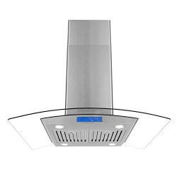 Cosmo 668ICS900 36-in Island Range Hood 900-CFM | Ducted/Ductless Convertible Duct, Glass Ceilin ...