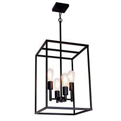 VINLUZ 4 Light Industrial Metal Farmhouse Pendant Light Black Square Wide Cage Chandelier with P ...