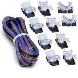 10 Pack 4 Pin LED Connector for Waterproof 10mm RGB 5050 LED Strip Lights, Strip to Wire Quick C ...