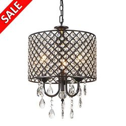 Delica Home American Retro Black Crystal Chandelier, Luxurious Atmospheric Chandeliers for Livin ...