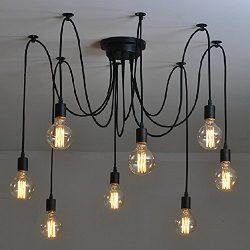 Industrial Vintage Edison Spider Light-LITFAD 8 Lights Multiple Ajustable DIY Ceiling Light Pend ...