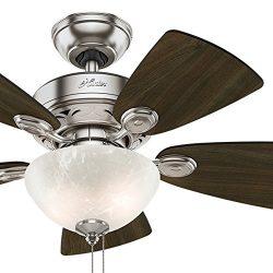 Hunter Fan 34 inch Brushed Nickel Finish Casual Ceiling Fan with Light Kit (Certified Refurbished)