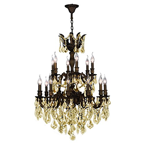 Worldwide Lighting Versailles Collection 18 Light Flemish Brass Finish and Golden Teak Crystal C ...