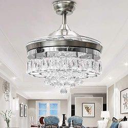 Huston Fan Modern Crystal Chandelier Fan with 4 Retractable Blade for Indoor Dining Bedroom Rest ...