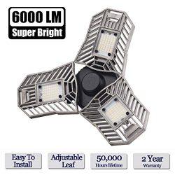 LED Garage Lights, 60W E26/E27 6000LM Deformable Ceiling Lighting for Full Area, LED Light Bulbs ...
