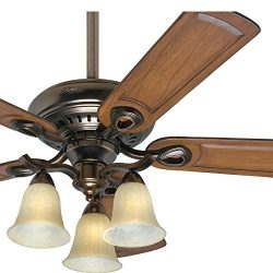 Hunter Fan 52 inch Traditional Ceiling Fan in Bronze Patina with Light Kit and 5 Caramel Carved  ...