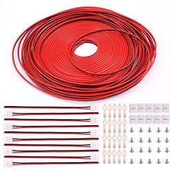 3528 2 Pin LED Strip Connector Kit – Includes 66ft Extension Cable Wire Cord, 10x LED Stri ...