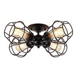 KOONTING 4-Light Industrial Semi-Flush Mount Ceiling Light, Metal Cage Pendant Lighting Lamp Fix ...