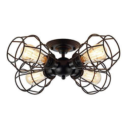 Koonting 4 Light Industrial Semi Flush Mount Ceiling Light