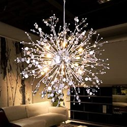GDNS 8 Pcs Lights Chandeliers Firework LED Light Stainless Steel Crystal Pendant Lighting Ceilin ...