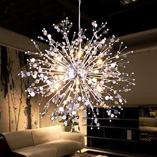 GDNS 8 Pcs Lights Chandeliers Firework LED Light Stainless Steel Crystal Pendant Lighting Ceilin ...