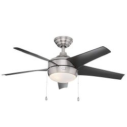 Home Decorators Collection Windward 44 in. LED Brushed Nickel Ceiling Fan with Light Kit
