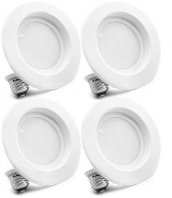 4 Pack Bioluz LED 5″/6-inch 75 Watt (Uses 12W) 90 CRI Dimmable LED Retrofit Recessed Light ...