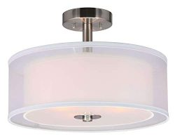 XiNBEi Lighting Semi Flush Mount Ceiling Light, 3 Light Close to Ceiling Light with Fabric Shade ...
