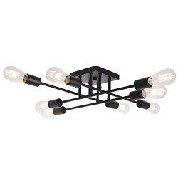 8 Light VINLUZ Black Vintage Semi Flush Mount Ceiling Light Mid Century Modern Sputnik Light wit ...