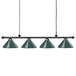 Wellmet 70″ Hanging Pool Table Lights for 8'~11′ Table with 4 Metal Shades, Bi ...