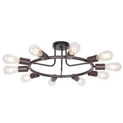BONLICHT Modern 10-Light Sputnik Chandelier Oil-Rubbed Bronze Mid Century Semi Flush Mount Ceili ...