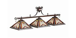 Three Shade Billiard Light w Stained Glass Pyramid Shades