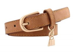 Women Fashion PU Leather Dress & Jeans Thin Waist Belt for Girls and Ladies Gold Color Buckl ...
