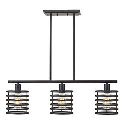 VINLUZ 3 Lights Rustic Chandeliers Black Metal Retro Kitchen Island Pendant Lighting Industrial  ...