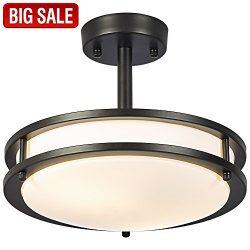 SOTTAE Diameter 12″ 13W Black Living room Bathroom Dining Room Flush Mount GU24 Ceiling Li ...