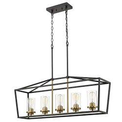 Emliviar Modern 5-Light Kitchen Island Pendant Light Fixture, Linear Pendant Lighting, Black and ...