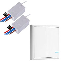 Wireless Light Switch and Receiver Kit for Lamps Ceiling Fans Appliances, Night Light Indicator, ...