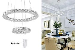 KAI Crystal Island Pendant Light Dimmable Temperature Adjustable Contemporary Chandelier Lamp wi ...