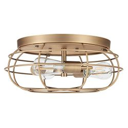 Cartaro 3 Light Industrial Vintage Cage Ceiling Light | Antique Brass Flush Mount Light Fixture  ...