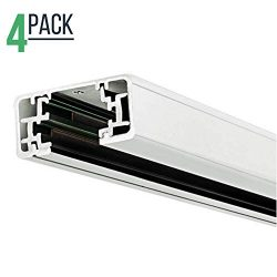 Track Lighting Section, 4ft H Track Rail, White Single Circuit 3-Wire Track Rail (Pack of 4) (White)