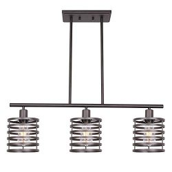 VINLUZ 3 Lights Linear Chandeliers Oil Rubbed Bronze Modern Table Cage Light Rustic Kitchen Isla ...