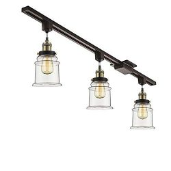 KIVEN Set of 3 H-System Track Lighting Pendant Kitchen Island Light – Clear Glass Shade In ...