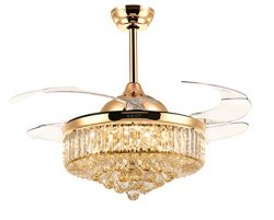 Siljoy 42 Inch Retractable Fan with Remote Control and Dimmable Light Invisible Chandelier Fans  ...