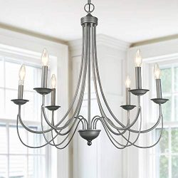 LOG BARN 6 Lights French Country Shabby Chic Metal Chandelier in Antique Brush Dark Silver Finis ...