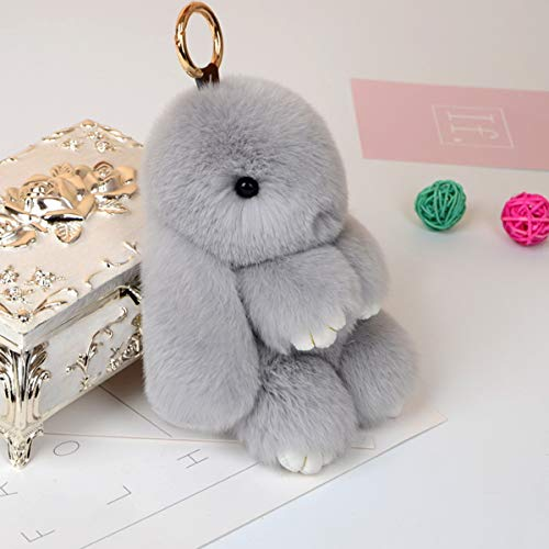 Yuniroom 18CM Bunny Rex Rabbit Fur Bag Pendant Handbag Keychain Pom Doll Key Chain Ring Pendent  ...