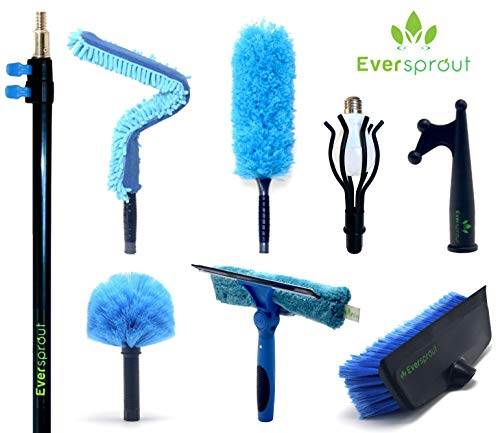 Eversprout Extension Pole Total Kit 25 Ft Reach Telescopic Pole Scrub Brush Light Bulb