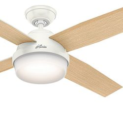 Hunter Fan 52″ Fresh White Contemporary Ceiling Fan with LED Light Kit and Remote Control  ...