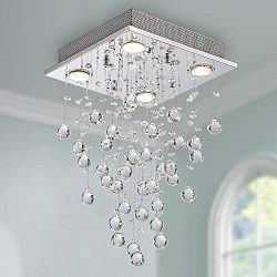Modern Crystal Raindrop Chandelier Lighting Flush Mount LED Ceiling Light Fixture Pendant Lamp f ...