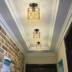 Nesee Lighting Fixtures Ceiling Flush Mount Industrial Antique Lighting Fitting Mini Rustic Meta ...