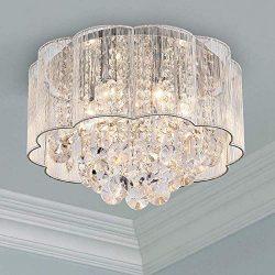 Modern Crystal Raindrop Chandelier Lighting Flush Mount LED Ceiling Light Fixture Pendant Lamp f ...