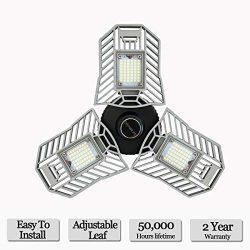 LED Garage Lights, Deformable LED Garage Ceiling Lights 6000 Lumens, 60W CRI 80 Led Shop Lights  ...
