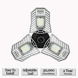LED Garage Lights, Deformable LED Garage Ceiling Lights 6000 Lumens, 60W CRI 80 Led Shop Lights  ...