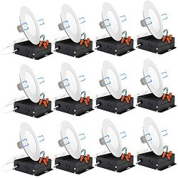 Sunco Lighting 12 Pack 4 Inch Slim LED Downlight with Junction Box,10W=60W, 650 LM, Dimmable, 50 ...