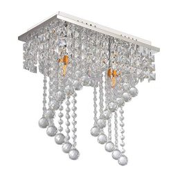 Wabaodan 2-Light Modern Crystal Chandelier Pendant Ceiling lamp Chrome Finish Crystal Chandelier ...