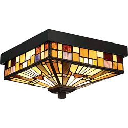 Quoizel TFIK1611VA Inglenook Outdoor Tiffany Mission Flush Mount Ceiling Lighting, 2-Light, 120  ...