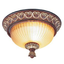 Livex Lighting 8562-63 Villa Verona 2 Light Verona Bronze Finish Flush Mount with Aged Gold Leaf ...