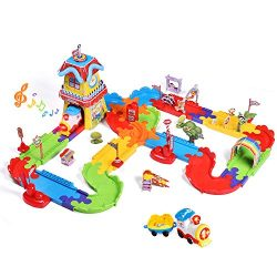 FUN LITTLE TOYS 189 PCs Train Sets with Variable Railway Tracks, Electric Toy Trains with Lights ...