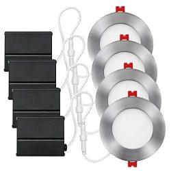 Globe Electric 4″ LED Integrated Ultra Slim Recessed Lighting Kit 4-Pack, 9 Watts, Energy  ...