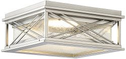 Possini Euro Kris 14″W Nickel LED Outdoor Ceiling Light
